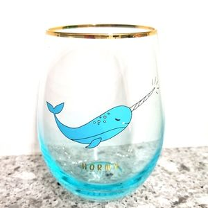 Narwhal horny gold rimmed funny wine glass